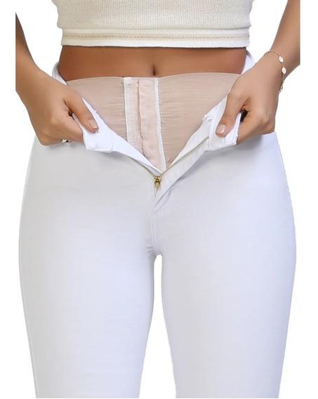 Calça Jeans Feminina Sawary Super Lipo Com Cinta Modeladora