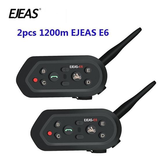 Intercomunicador Multifuncional Capacete Moto Ejeas E6 (par)