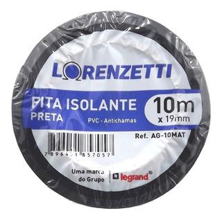 Kit 3x Fita Isolante Anti Chama 10m Preto - Lorenzetti