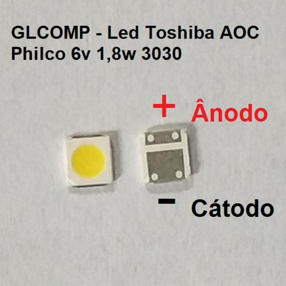 Led Smd Tv Sti Toshiba Aoc Philco 3030 6v 1,8w 20 Pçs Carta