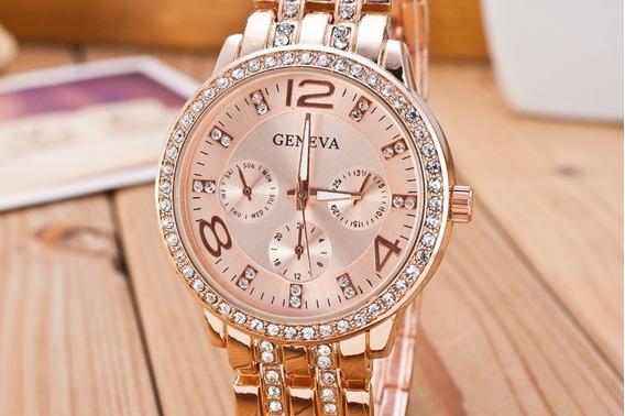 Lindo Relógio Feminino Geneva Rose Com Strass E Calendário