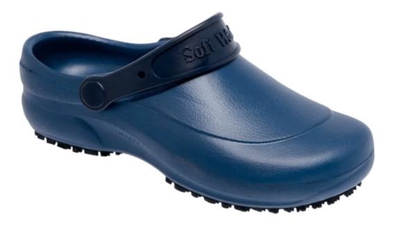 Zapato Zueco De Goma Anti Deslizante Azul - Mundo Trabajo