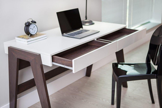 Escrivaninha De Escritório Office Retrô Design Pés Palito Mesa De Computador - Trancoso Off White