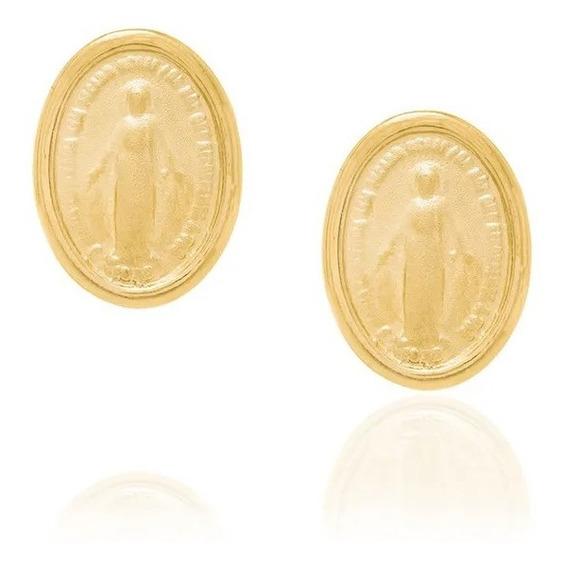 Brinco Oval Rommanel Medalha Nossa Senhora Das Graças 522775