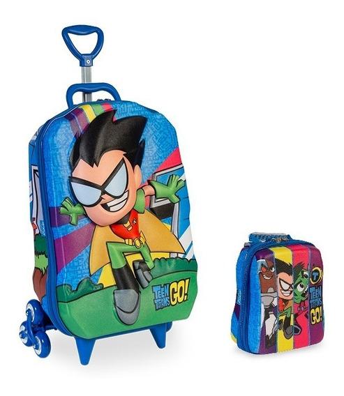 Mochila Escolar Teen Titans Go Robin 3d Com Rodinhas