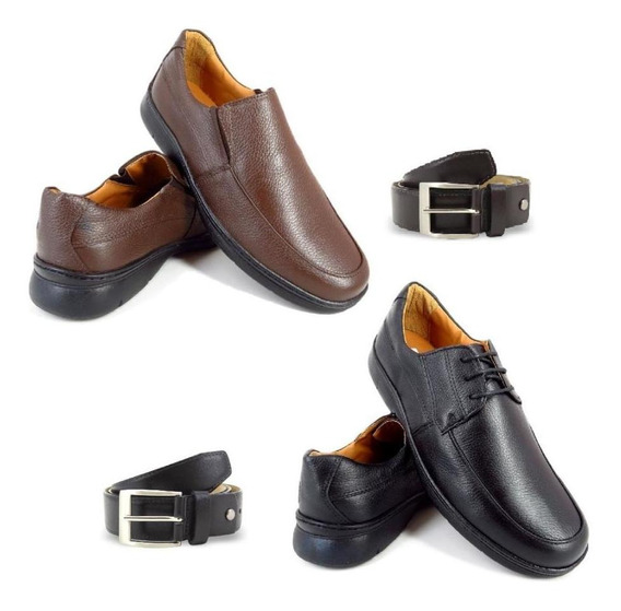 Kit 2 Sapatos Social Conforto Masculino + 2 Cintos Em Couro