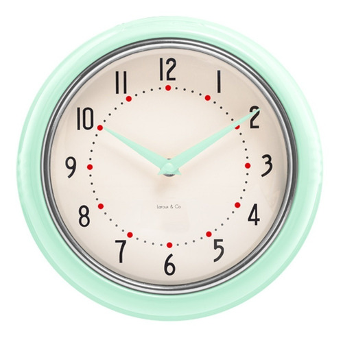Reloj De Pared Verde Aqua  Retro Marco Metal
