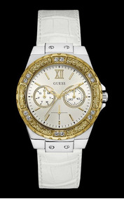 Relógio Guess Feminino Branco Couro Cristais 92601lpgsbc7