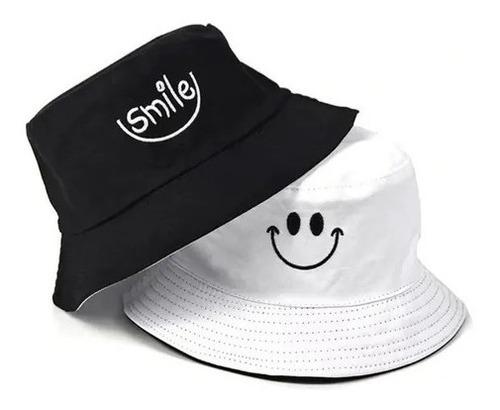 Imagem 1 de 4 de Boné Chapéu Bucket Hat Smile Sorriso Dupla Face Muito Estilo