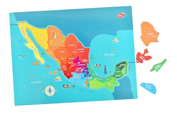 Rompecabezas Mapa De México Madera