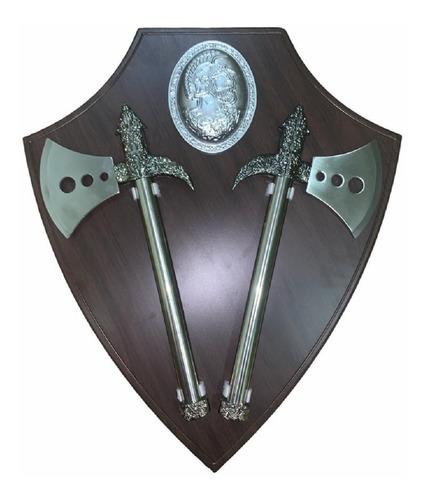 Hachas Espadas Antiguas Base Pared Madera Espadas Medieval