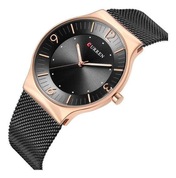Relógio Masculino Casual Ultra Fino Dourado Curren Metálico
