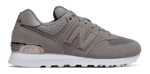 Zapatilla New Balance Lifestyle Mujer Wl574fsc Gris- Bco Ras