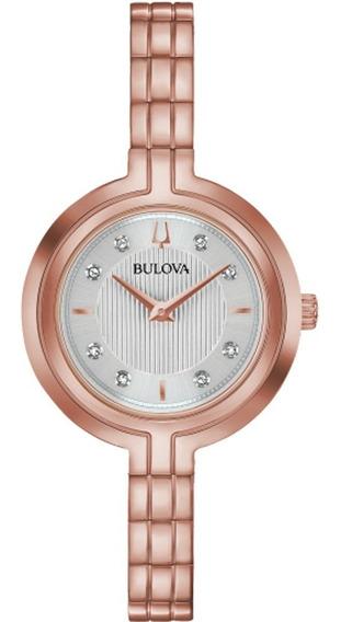Reloj Bulova Con Diamantes Para Dama 97p145