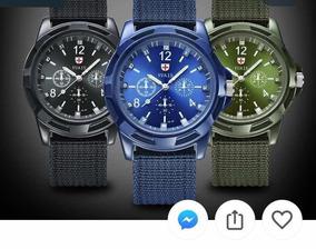 Relógio Azul Casual Sport Quartz Whatch