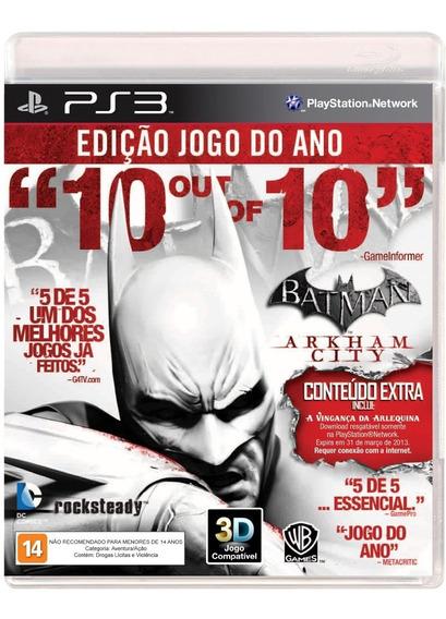 Jogo Ps3 Playstation 3 Batman Arkham City Mídia Física