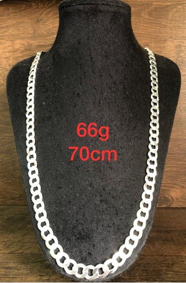 Colar De Prata Italiana 925 Modelo Groumet 66g 70cm