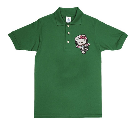 Playera Polo Hello Kitty Astronauta Colores Bordada Opcion Personalizada