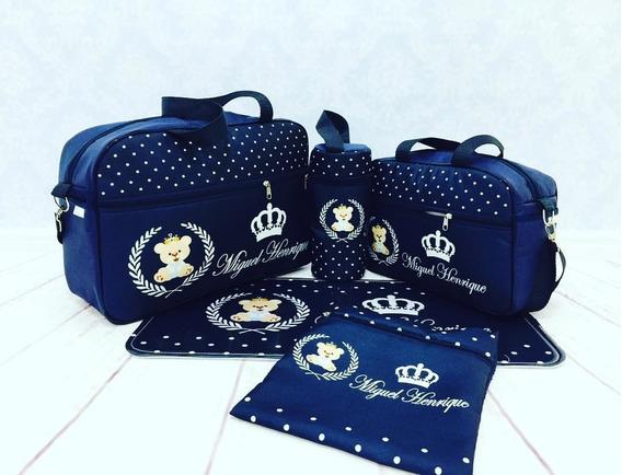 Kit Bolsa Mala Bebe Saida Maternidade Personalizada Azul