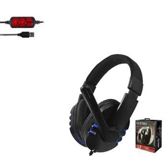 Headphone Eletro Q7 Usb Com Microfone E Controle De Volume