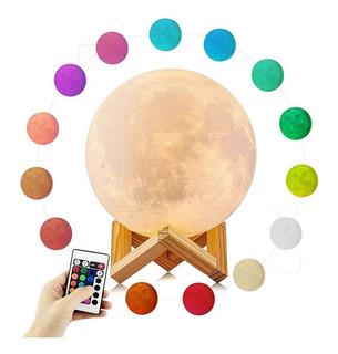Lampara Luna Decoración 16 Colores 15cm + Control Regalo