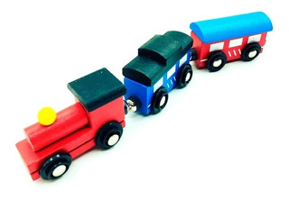 Tren Locomotora Imantado De Madera Compatible Otras Pistas