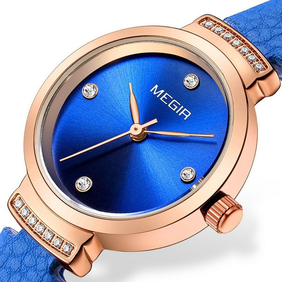 Megir 4207 Casual Strass Relógio Moda Para Mulheres Azul