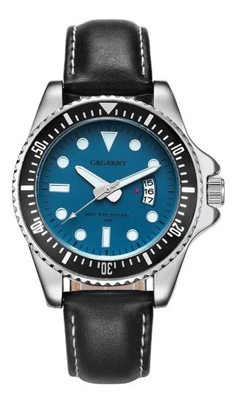Relógio Masculino Social Cronômetro Natural Cagarny Luxo Man