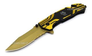 Canivete Tatico Profissional Aço Corta Fio E Quebra Vidro