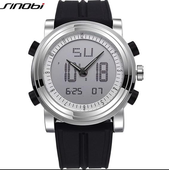 Relógio Sinobi Anadigi Militar Resistente A Água Inox