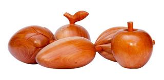 Kit Frutas Em Cedro: Maçã Cacau Morango Manga Laranja (k041)
