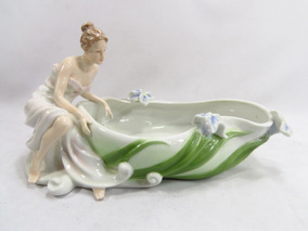 Bowl Ou Petisqueira Porcelana Unicorn Art Nouveau Dama
