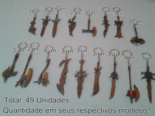 Kit Chaveiro Metal Guns Comics Espada/machado Atacado 49 Pç