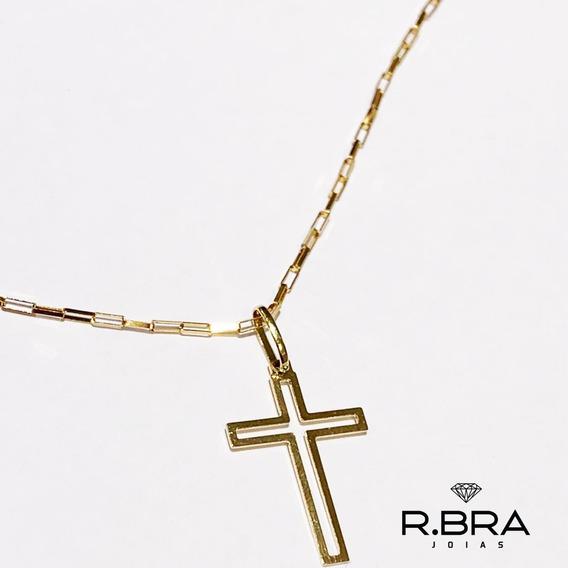Corrente Cordão + Pingente Crucifixo Masculino Ouro 18k 750