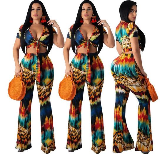 Mujeres Traje De Dos Piezas Crop Top Pantalones De Impresió