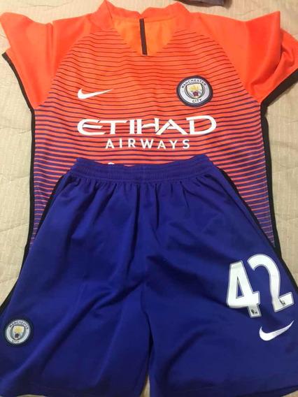 Camiseta E Bermuda Futebol Uniforme Manchester City P
