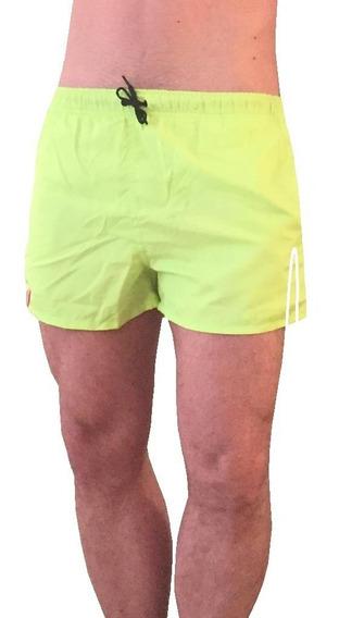 Short Wide Liso Verde Limón