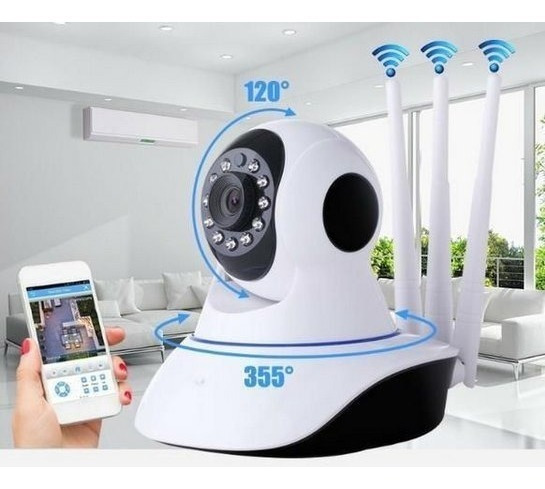 Câmera Segurança Ip Sem Fio Wi-fi Audio 3 Antenas Lançament