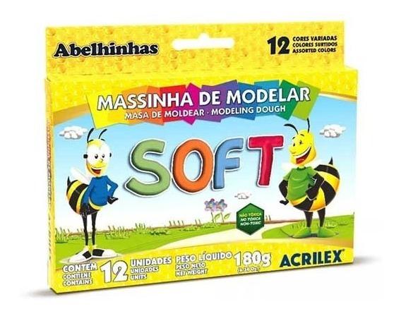 Masa Soft Para Modelar Acrilex X 12 Colores 180 Grs X 2 U.