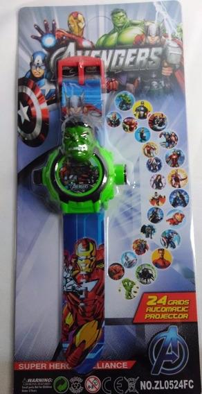 Relógio Hulk Vingador Projetor De Luz Com 24 Imagem Infantil