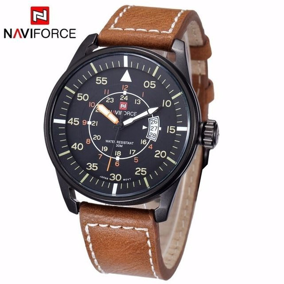 Relógio De Pulso Luxo Naviforce Couro Legítimo