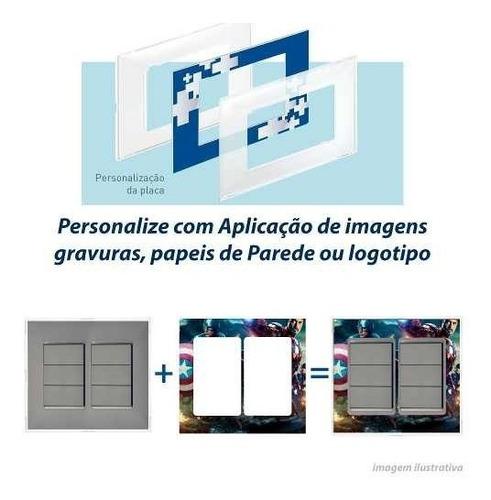 Imagem 1 de 10 de Int 6 Teclas + Placa Cinza Personalizável 4x4 Pial Plus +
