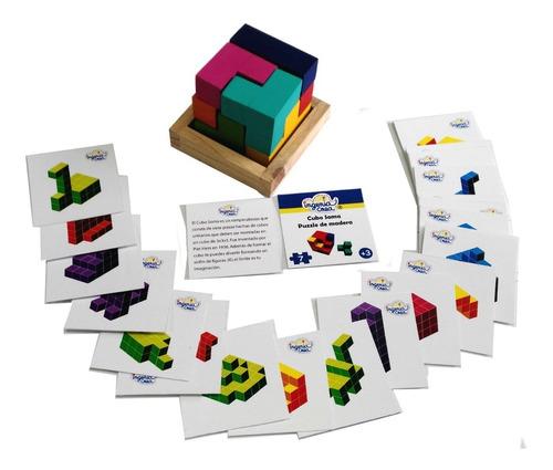 Imagen 1 de 5 de Ingeniacrea: Cubo Soma Puzzle De Bloques De Armar Con Retos