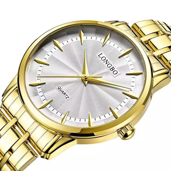 Relógio Longbo Masculino Dourado Clássico Original