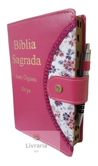 Biblia Sagrada Botão E Caneta Letra Gigante C/ Harpa