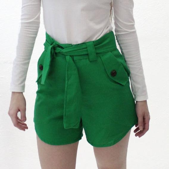 Shorts Feminino Em Linho Alfaiataria Cintura Alta Moda Blog