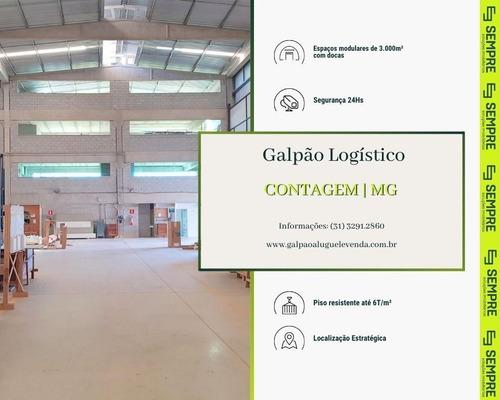 Imagem 1 de 16 de Locação De Galpão 3.000 M² Com 02 Docas - Contagem / Mg - Ga0938