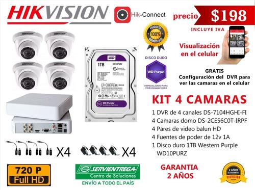 Camaras De Seguridad Hikvision Vigilancia Cctv Kit 4 Con Dvr