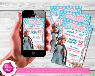 Invitacion Digital Personalizada Bo Beep Toy Story