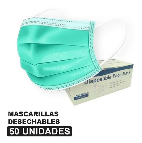 Mascarillas Desechables Color Menta - 50 Unid - 3 Pliegues